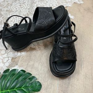Fiona Black Strap Platform Wedge Slingback Sandals